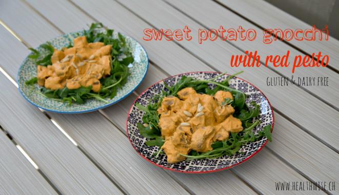 Sweet potato gnocchi with red pesto