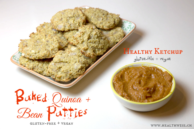 quinoa & bean patties healthy ketchup
